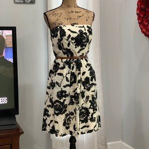 Ann Taylor Loft bold print strapless dress size 6